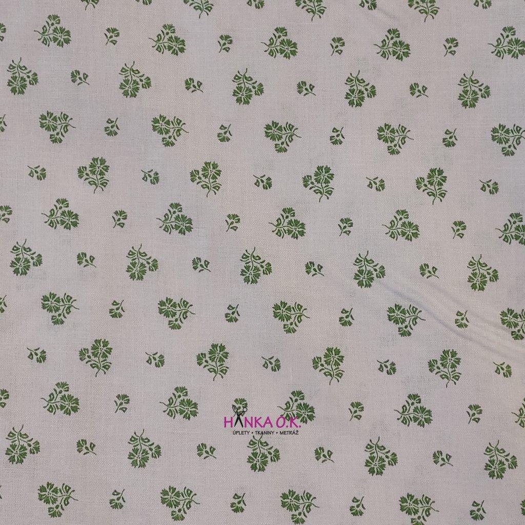Bavlněná tkanina - plátno 135g - hráškově zelené kytičky na bílé