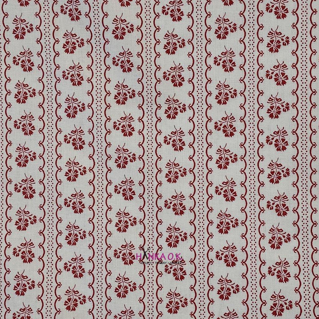 Bavlněná tkanina - plátno 135g - vínové kytičky na bílé v pruzích