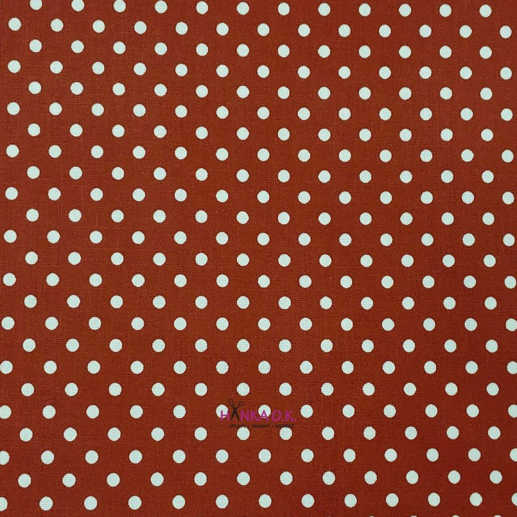 Bavlněná tkanina - plátno 135g - puntíky na vínové