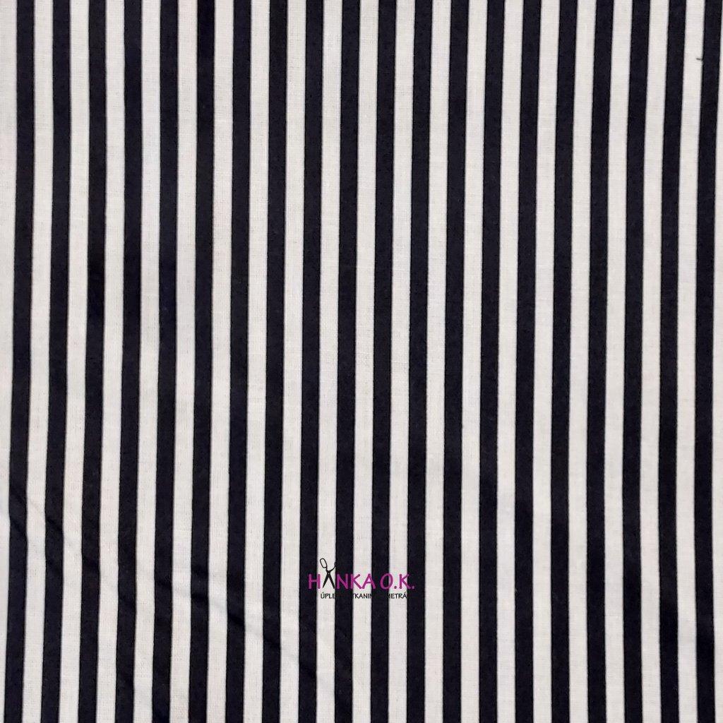 Bavlněná tkanina - plátno 135g - svislé pruhy bílá s modrou navy