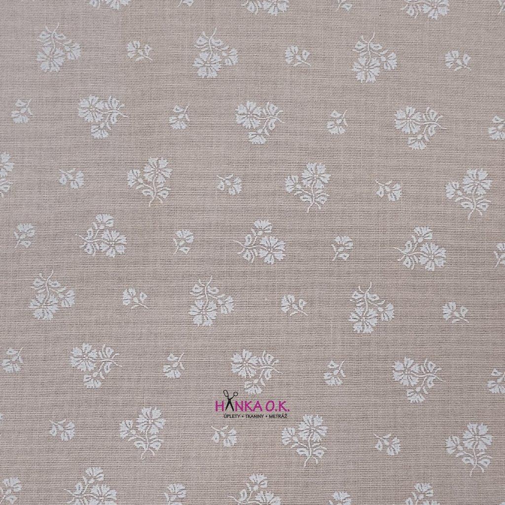 Bavlněná tkanina - plátno 135g - kytičky na béžové