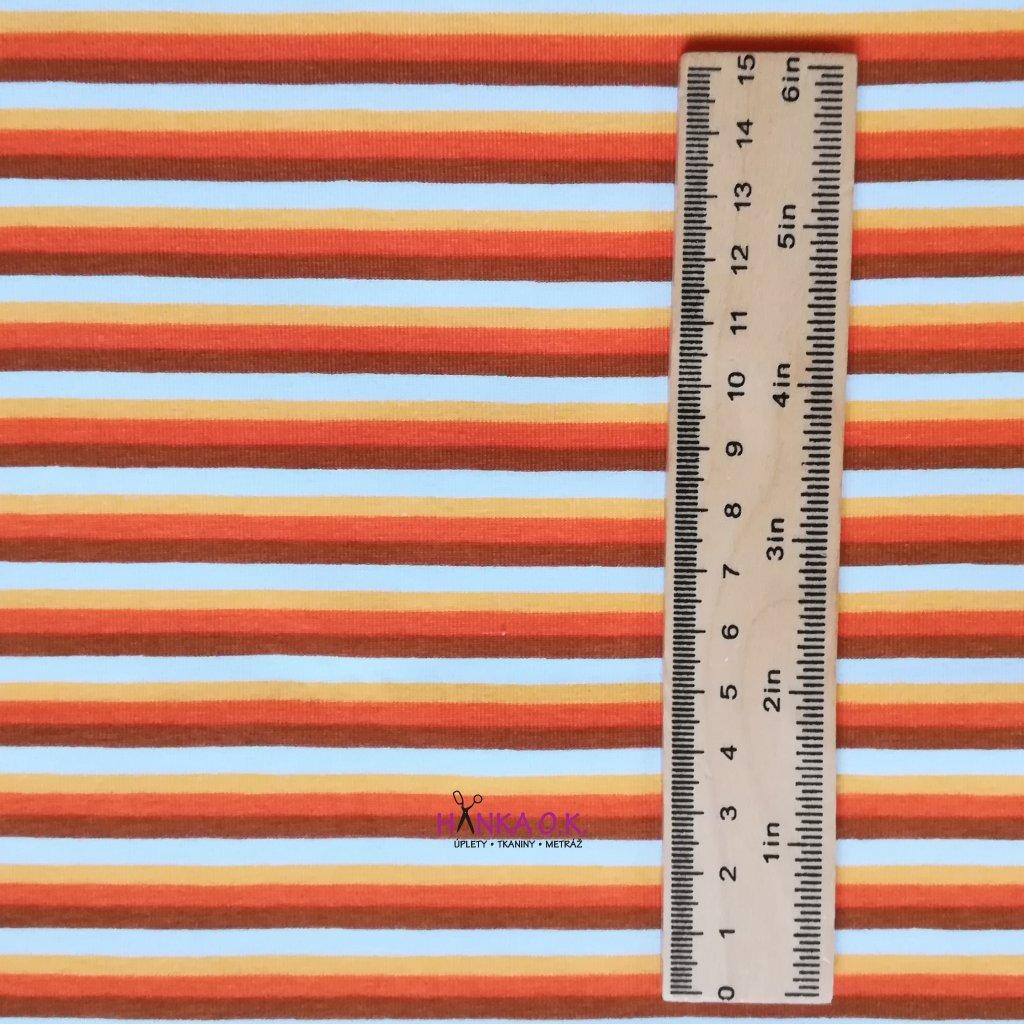 úplet jednolícní pruhy oranžové