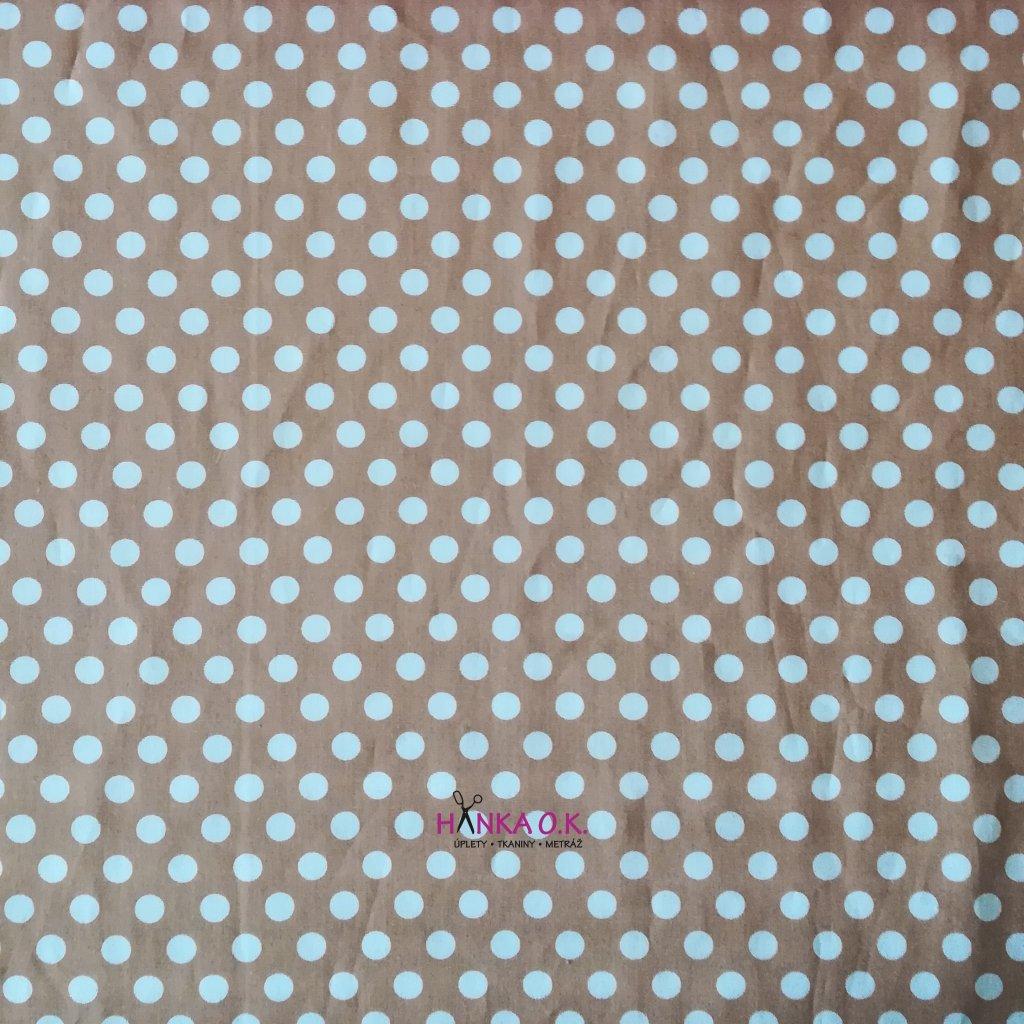 popelín bílý puntík na béžové metráž