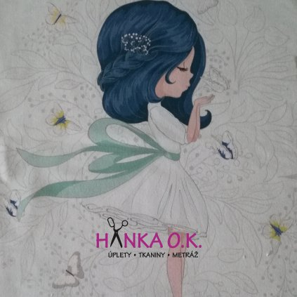 Panel úplet holčička s modrými vlasy 42x50 cm