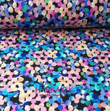 Softshell zimní 3 vrstvý akvarelové puntíky tmavé, 320g