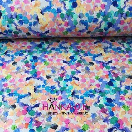 Softshell zimní 3 vrstvý akvarelové puntíky světlé, 320g
