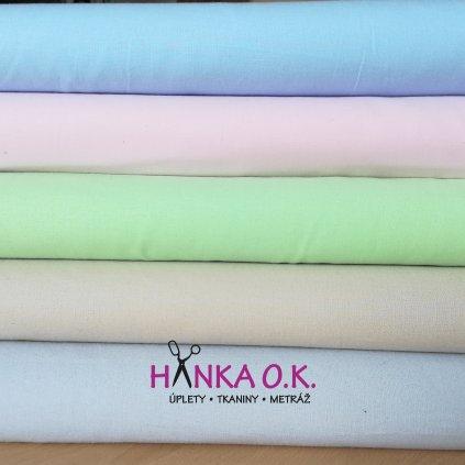 Bavlněná tkanina -  plátno 135g - modrá světlá