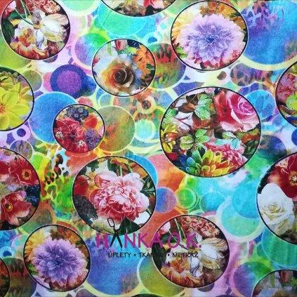 Viskozový úplet 210g - květy v kruhu