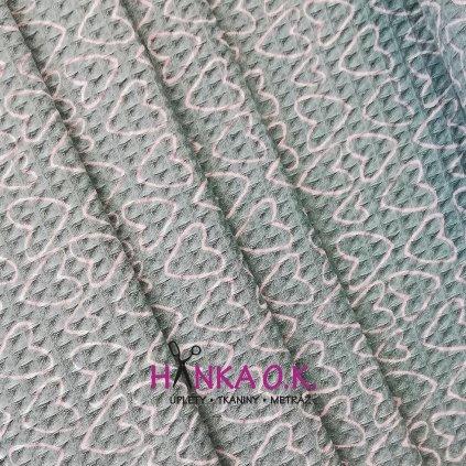 Bavlněná tkanina -  waflová vazba 240g - mint se srdíčky - vafle