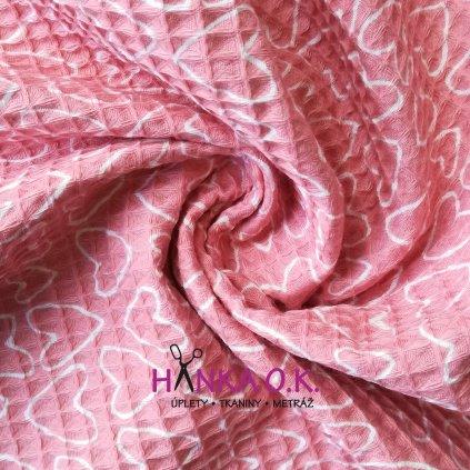Bavlněná tkanina -  waflová vazba 240g - růžová se srdíčky