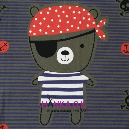 Panel úplet bavlna míša pirát - na celé tričko 100x150cm