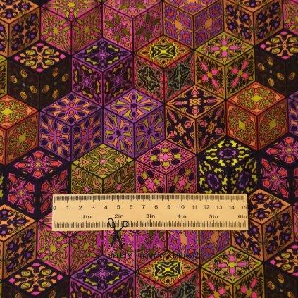 Úplet kostky ala mandala - fialová