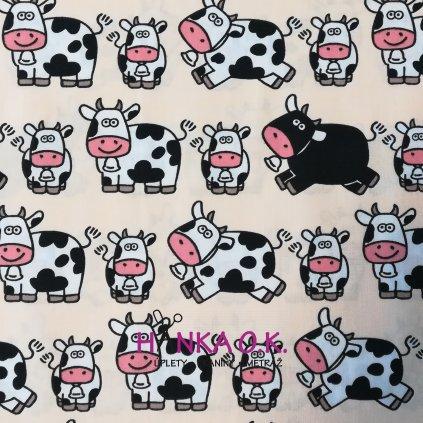 Bavlněná tkanina -  plátno 125 g - bavlna s kravičkami
