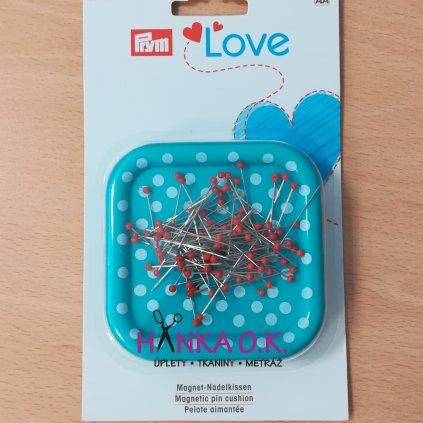 Magnetická miska na špendlíky + 9g špendlíky se skleněnou hlavičkou PRYM Love
