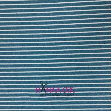 Úplet proužky na modré jeans melé 270g