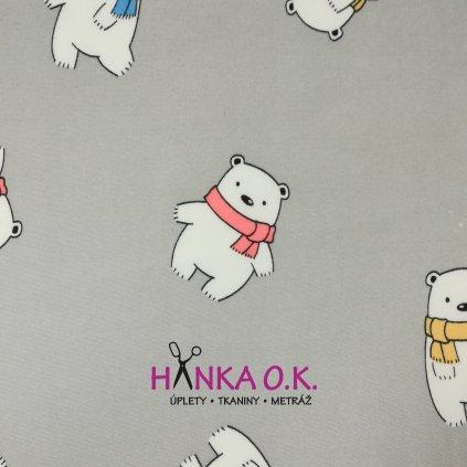 Teplákovina počesaná pro děti lední medvěd na šedé 280g