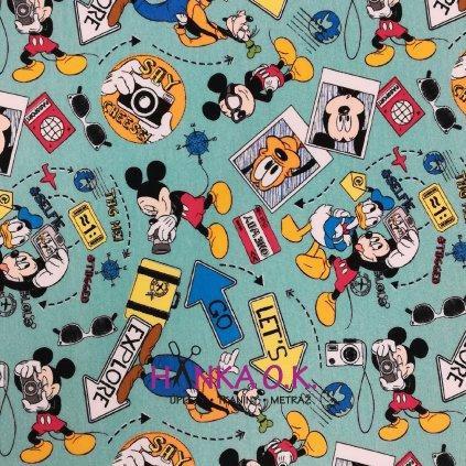 Teplákovina nepočesaná digitisk Mickey fotograf 240g
