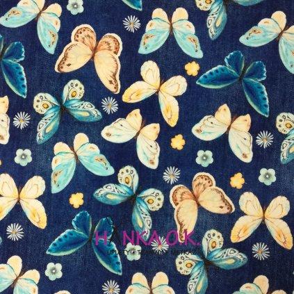 Úplet motýli na modré jeans 200g