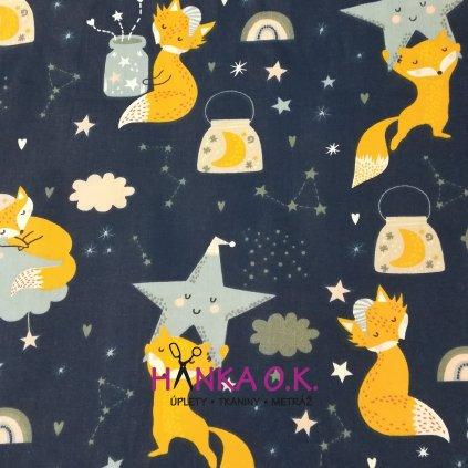 Bavlněná tkanina -  plátno 120g - liška a hvězdy na modré navy