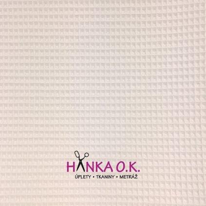Bavlněná tkanina -  waflová vazba 240g - bílá - vafle