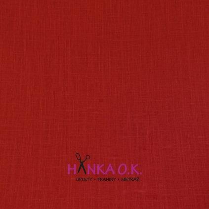 Lněná tkanina s viskózou 200g - červená jasná