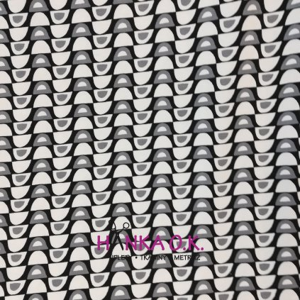 Viskozový úplet 210g - bílo černá půlkolečka