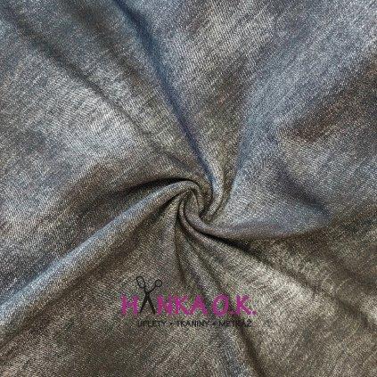 Teplákovina tisk jeans černošedá 250g