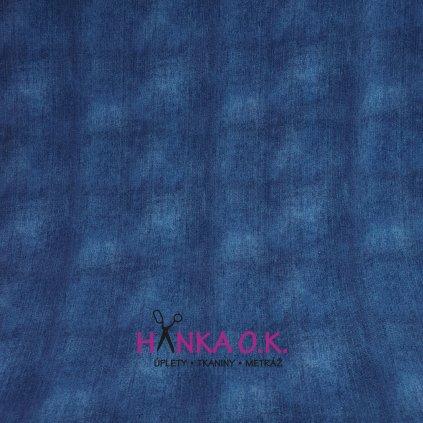 Teplákovina tisk jeans modrá indigo 250g