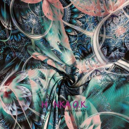 Viskozový úplet 210g - květy a mandaly tyrkys růžová