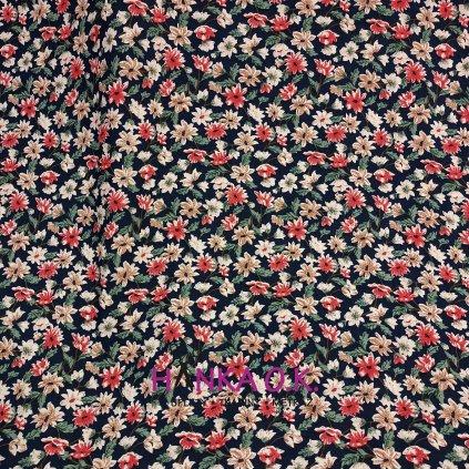 Viskózová tkanina květinový vzor halenkovina