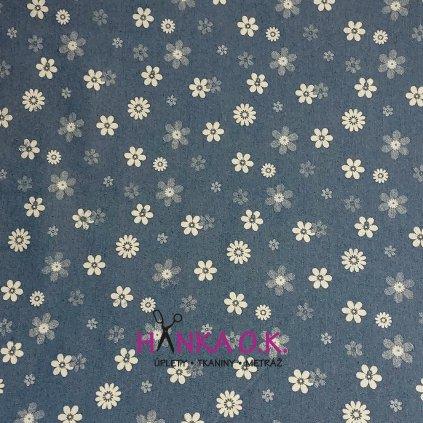 Jeans lehký 190g - kytky