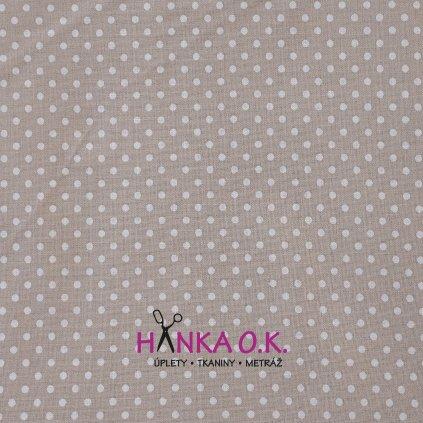 Bavlněná tkanina - plátno 135g - puntíky na béžové