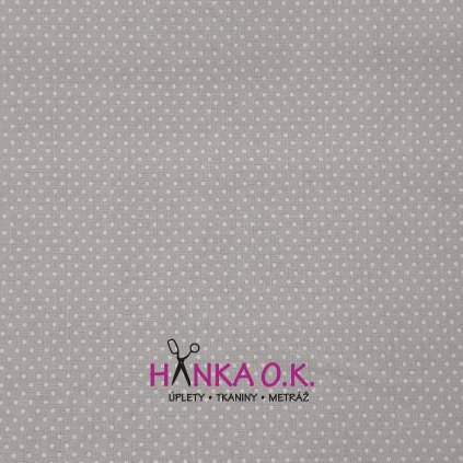 Bavlněná tkanina - plátno 135g - puntíky na světlé šedé