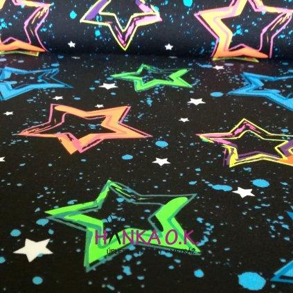 úplet tričkovina hvězdy neon na černé