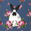 Panel úplet bavlna králíci s květinami - na celé tričko 100x150cm