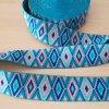 Guma - pruženka ozdobná 50mm geometrie modrá