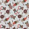 Bavlněná tkanina - plátno 135g - vánoční motiv červenobílý