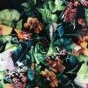 Teplákovina nepočesaná digitisk malované květy na černé 240g