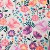 Bavlněná tkanina - popelín 110g - luční kvítí růžovo-fialová