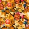 Viskózová tkanina abstrakce okrová 110g