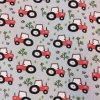 Úplet červené traktory na šedé 200g