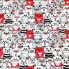 Teplákovina nepočesaná digitisk kočky bílé, červené a šedé 240g
