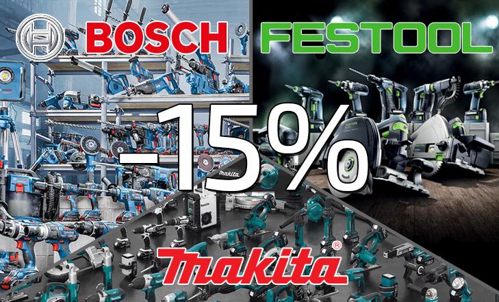 Sleva 15% na produkty BOSCH, FESTOOL a MAKITA