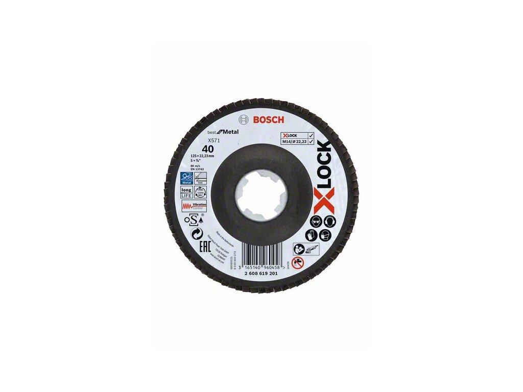 BOSCH Lamelové brusné kotouče Best for Metal systému X-LOCK, šikmá verze, fíbrová deska, Ø 125mm, G 40, X571, 1kus Professional