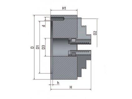 4-čelisťové sklíčidlo s centrickým upínáním ø 125 mm