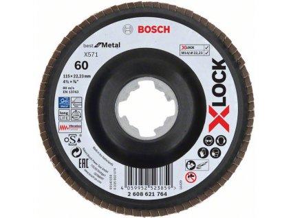 BOSCH Lamelové brusné kotouče Best for Metal systému X-LOCK, šikmá verze, plastový list, Ø 115mm, G 60, X571, 1kus Professional