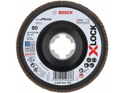 BOSCH Lamelové brusné kotouče Best for Metal systému X-LOCK, šikmá verze, plastový list, Ø 115mm, G 80, X571, 1kus Professional