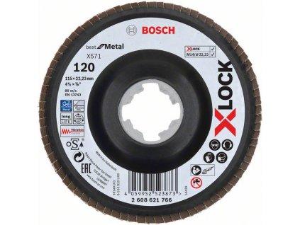 BOSCH Lamelové brusné kotouče Best for Metal systému X-LOCK, šikmá verze, plastový list, Ø 115mm, G 120, X571, 1kus Professional