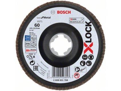 BOSCH Lamelové brusné kotouče Best for Metal systému X-LOCK, šikmá verze, plastový list, Ø 125mm, G 60, X571, 1kus Professional