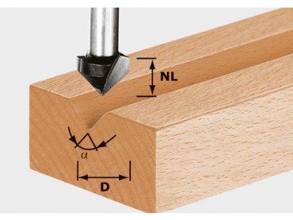 Drážkovací fréza ve tvaruV HS S8 D14/7/90°